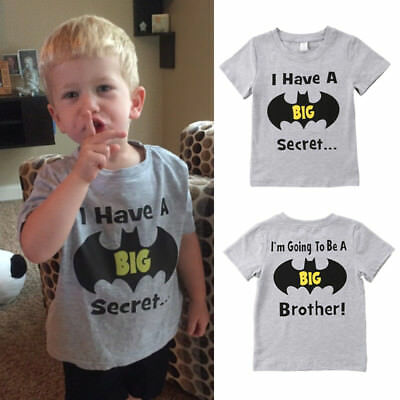 Cotton Toddler Kid Baby Boy Batman Big Brother Top T-shirt Casual Clothes Summer