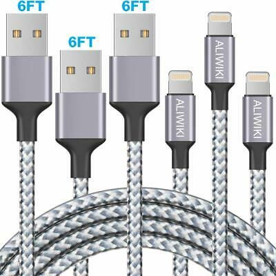 3 Pack 6 ft Lightning to USB Cable iPhone Charging Cable Cord Charger Braided