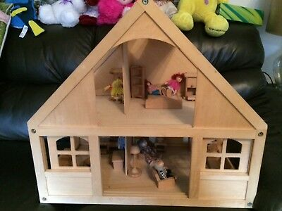 Elc Wooden Dolls House, Furniture And Doll Family