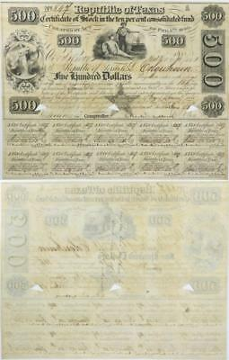 Republic of Texas $500 Certificate of Stock Consolidated Fund - Feb 5th 1840 -