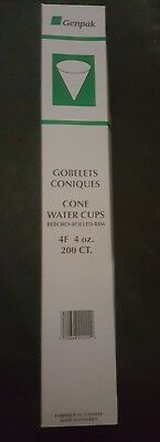 Genpak Harvest Cone Water Cups - Rolled Rim - 200 Count - 4 oz