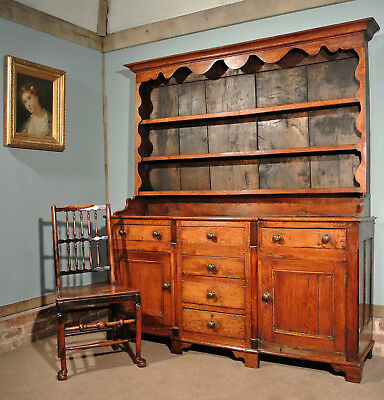 George III North Wales Solid Oak and Elm Country Dresser c. 1810