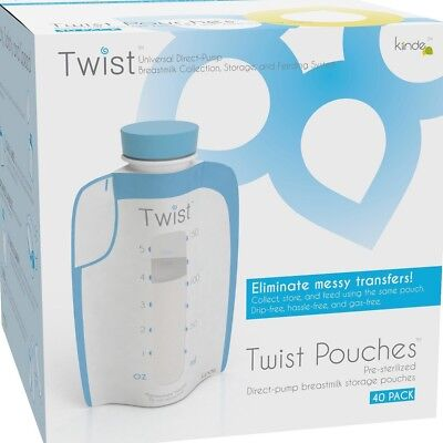 Kiinde Breast Milk Storage Twist Pouch (6 oz - Pack of 20) 6 Oz - 20 Pack