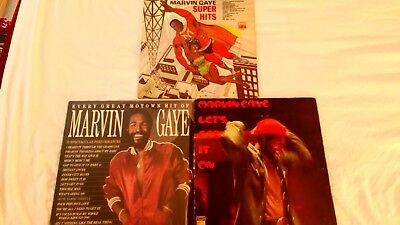 Three Marvin Gaye vinyl albums, lp. lets get it on and more.