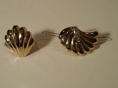 2 Vintage Gold Tone Shell Scarf/Dress Clip Lot