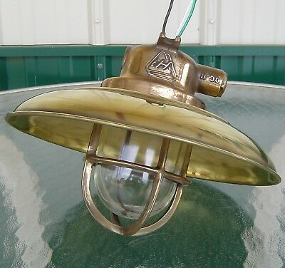 Vintage Polished Brass Ship's Ceiling Light With Deflector Cover