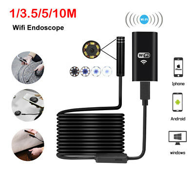 LED Waterproof WiFi Endoscope Snake Inspection Camera Lens for Phone PC Laptop