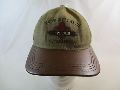 1999 Boy Scouts Of America Brown W/Leather Brim Adjustable Cap Hat OSFAI