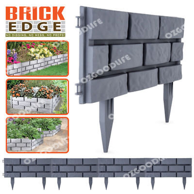 Easy To Interlock Hammer Into Soil Brick Edge Garden Edging Grey 4-Pack AU STOCK