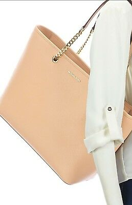c86a448ffe0d NWT MICHAEL KORS Jet Set Travel Chain Saffiano Leather OYSTER COLOR ...