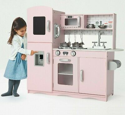 Deluxe Kids Toy Kitchen Large Children Wooden Cooker Girls Boys Play Set Brown