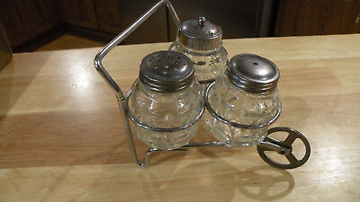 Vintage 4 Piece Glass Salt & Pepper Shakers W/ Metal Wheelbarrow Cart Cruet Set