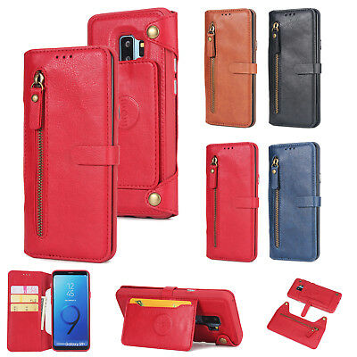 Magnetic Detachable Wallet Leather Zipper Card Holder Case Fr Samsung S9/Note 8
