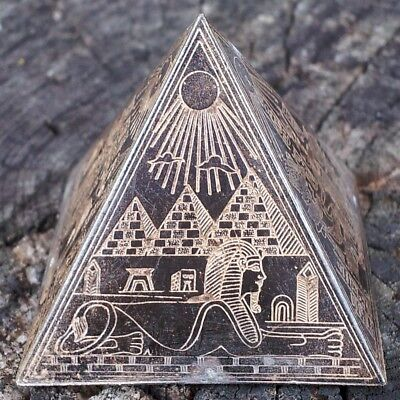Antique Egyptian Bronze Metal Pyramid~Etched Brass/Copper~Ancient Egypt King Tut