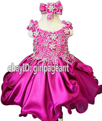 Infant//toddler//baby Sequins Lace Crystals Pageant Glitz Dress G025AL