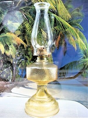 Kerosene Oil Lamp Antique Pale Amber Stained Glass Embossed Footed With Chimney
