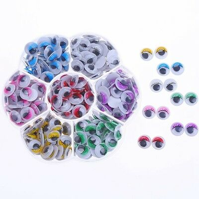 210pcs 10mm Colors Wiggly Googly Eyes With Eyelash With Self-adhesive DIY S F3T8