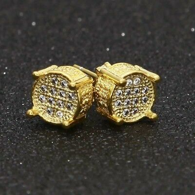 Mens Gold Plated Iced Out Simulated Lab Diamond Earrings Stud Round Hip Hop