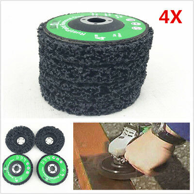 """4X 4"""" Poly Strip Disc Car Paint Rust Removal Clean Grinder Wheel 46 Grit Durable"""