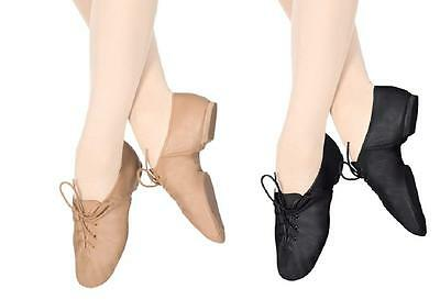NEW Jazz Shoes Lace Up Size Child to Adult in Black and Tan/Beige Leather Canvas