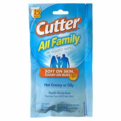 Cutter All Family Mosquito Wipes Insect Bug Repellent Wipes 7% DEET (15 Count)