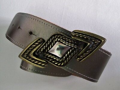 BELT Genuine 1980's VINTAGE Metallic Chunky Statement Buckle Sz S-M Retro Glam