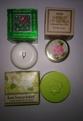 Vintage lot of  3 Avon Cream Sachet containers