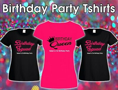 Personalised Birthday Girl Squad 18th 21st 30th 40th 50th T-shirt Ladies Female.