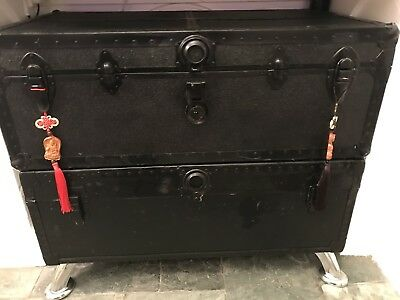 Black Steamer Trunk Blue Lining With Inner Tray Top Trunk Only