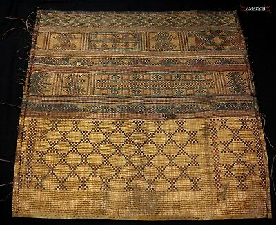Old Large Woven Straw Leather Carpet – Tuareg – Niger
