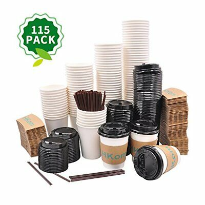 115 Set Paper Coffee Cups 12oz with Lids and Sleeves & Stirrers Hot Tea Coco