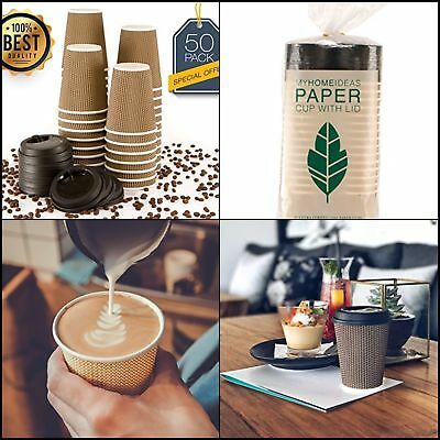 Hot Insulated Paper Cups with Lids For Coffee Tea Eco Friendly 12 Oz 50 Count