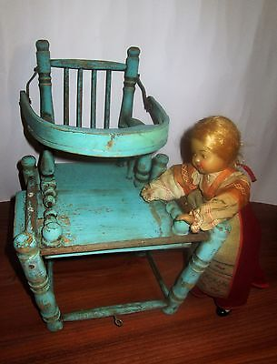 Antique Wooden Baby Doll Toy High Chair