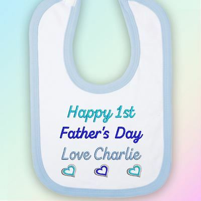 Happy 1st Father's Day Hearts Embroidered Baby Bib Gift Personalised Fathers Dad