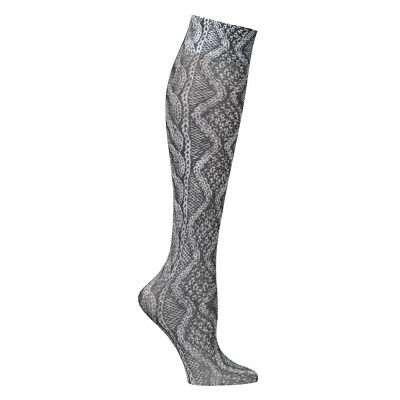 Women's Printed Mild Compression Wide Calf Knee High Stockings - Black Lace