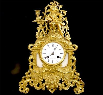 Antique 19Thc French Rococo Gilt Bronze Ormulu Clock Potonie Paris