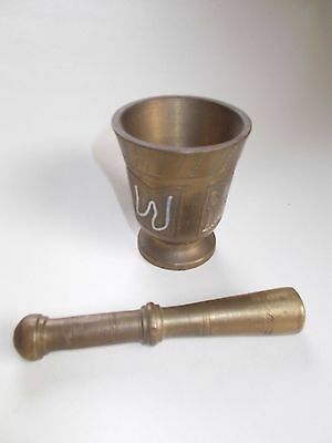 Vintage Solid Brass Pestle and Mortar  Stamped H.B.S.