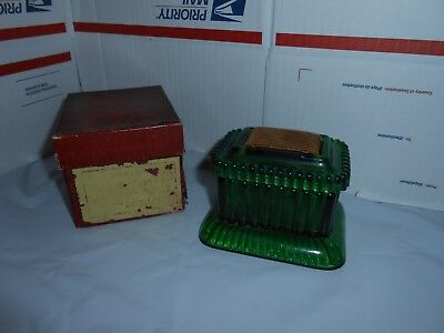 Rare Antique 1897-Early 1900's Green Glass Moistening Device Co Stamp/Postal