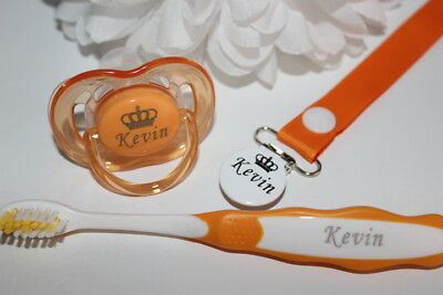 Personalised Dummy Avent, Dummy Clip & Toothbrush *can Be Sterilised*