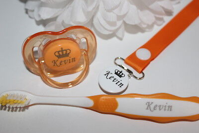Personalised Soother  Avent, Pacifier Clip & Toothbrush *Can Be Sterilised*