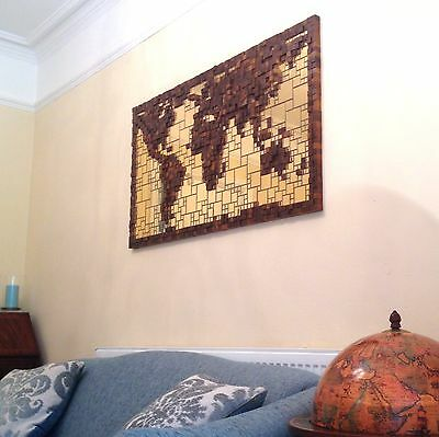 World map wall mirror vintage aspell saggers co picture 24 x hand made gold mirror walnut wood block world map 3d wall art gumiabroncs Images
