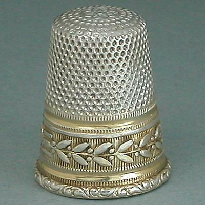 Antique Gold Band Silver Thimble * Germany * Circa 1900s
