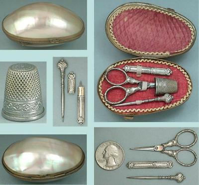 Antique Mother of Pearl Child's Silver Etui / Sewing Set * French * Circa 1860