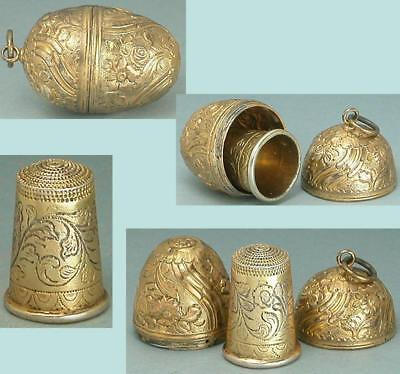 Antique Gilded Silver Chatelaine Thimble Egg & Thimble * Circa 1880