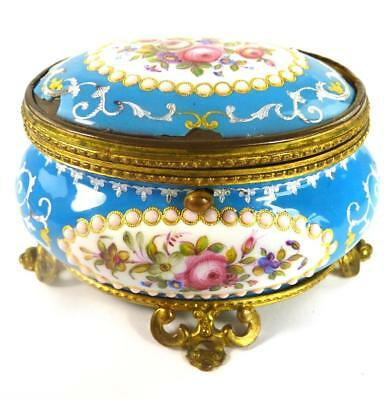 Antique French Turquoise Enamel & Gilt Metal Casket Box Flowers Enamel Drops