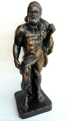 Vintage Hercules Statue Plaster Sculpture Bronze Colour Ancient Greek Mythology