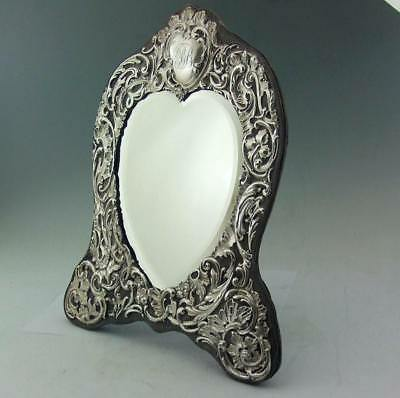Large Romantic Edwardian Solid Silver Dressing Table Mirror