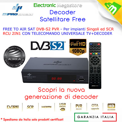 Decoder Digitale Satellitare DVB-S2 HD con funzione PVR USB e telecomando DPS201