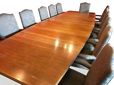 13ft MAGNIFICENT OAK BOARDROOM/DINING TABLE & 14 CHAIR SET,  PRO FRENCH POLISHED