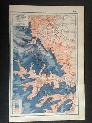 Antique Map 1920 - World War 1 - Western Front - Lens and Arras Free  Post